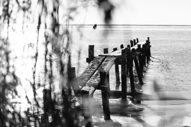 A long walk off a short bridge - B/W version